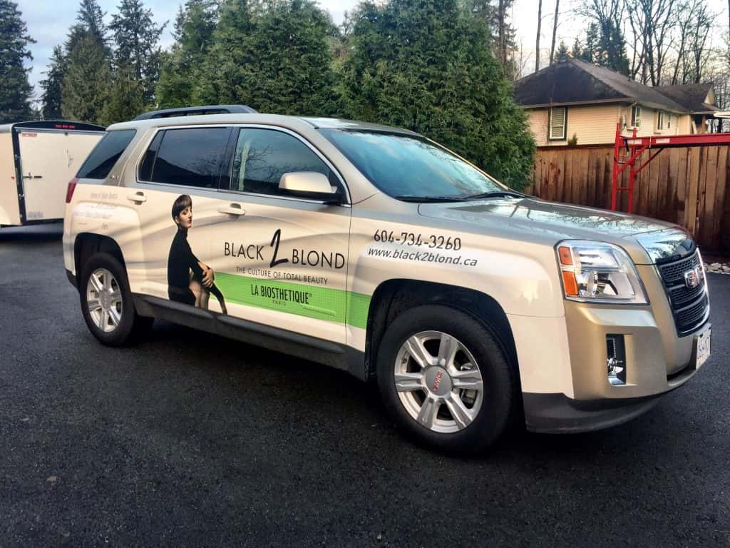 Black to Blond partial vehicle wrap