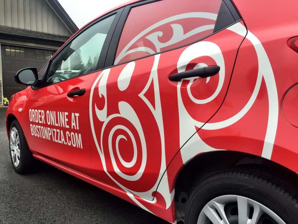 Wrap Guys car wrap for Boston Pizza