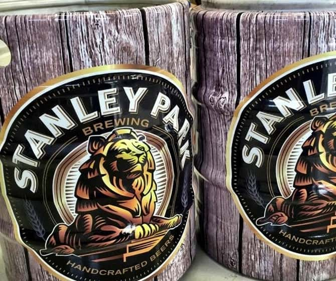 Custom beer keg vinyl wraps for Stanley Park Brewing