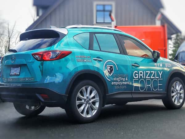 Grizzly Force SUV with a custom vinyl wrap