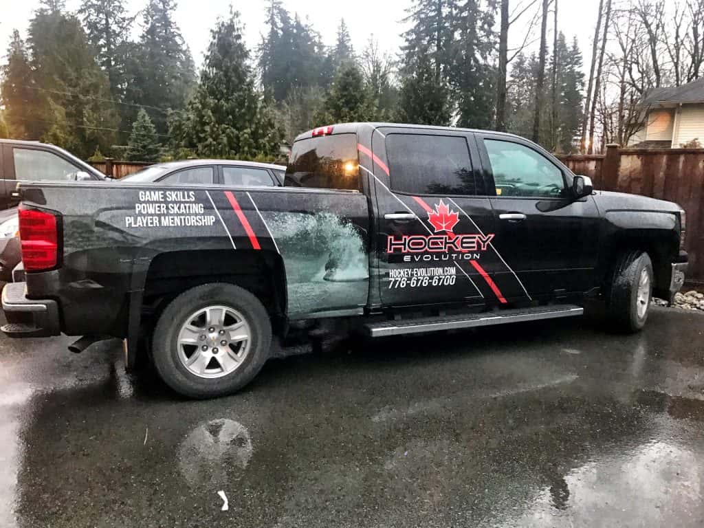 Hockey Evolution partial vehicle wrap