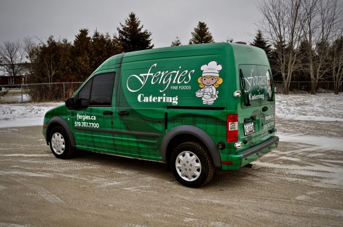 Green and black Fergie's Catering full van wrap