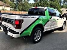 Merit Homes partial truck wrap