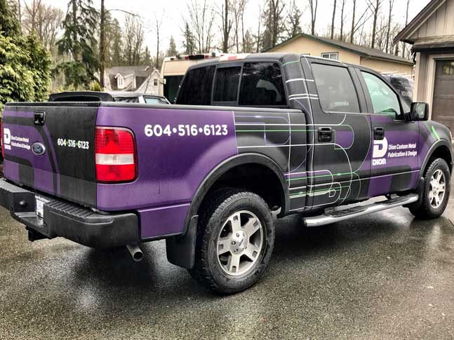 Dion Custom Metal partial truck wrap
