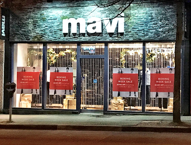 mavi jeans custom window decals