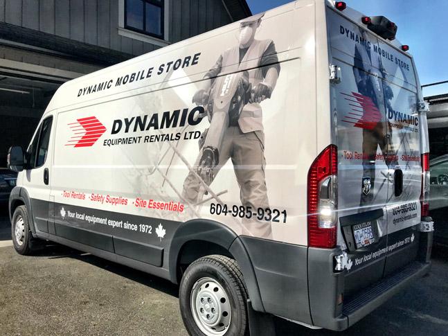Dynamic Equipment Rentals full vehicle wrap