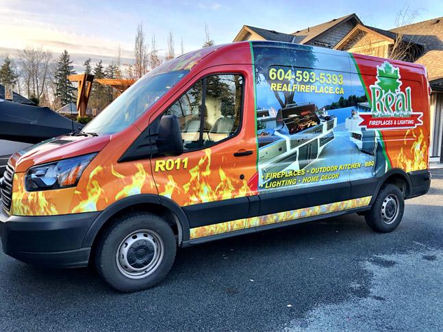 Real Fireplace & Lighting full vehicle wrap