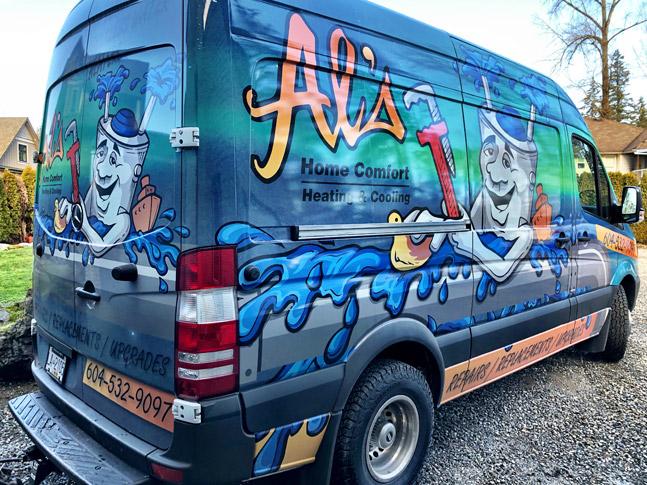 Al's Home Comfort Heating and Cooling van wrap
