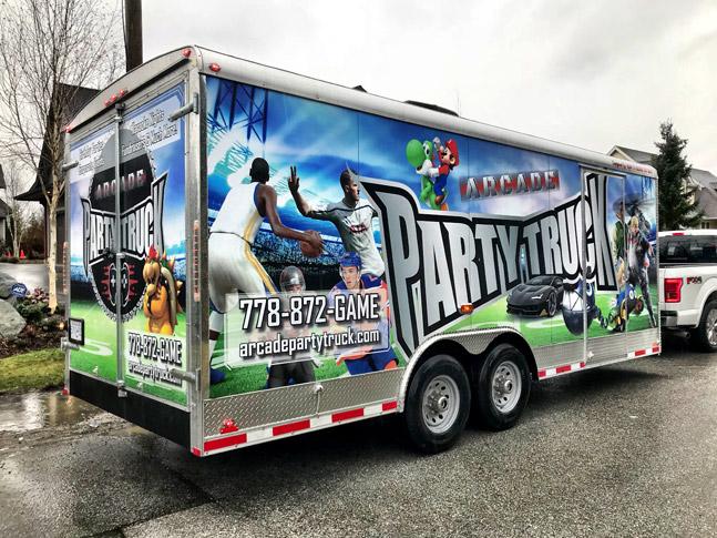 Arcade Party Truck trailer wrap