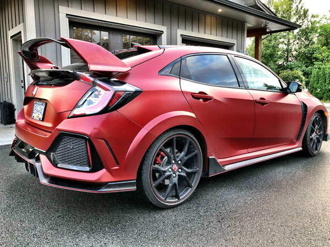 Personal matte red car wrap