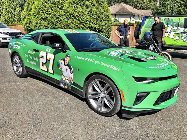 Green Shirt Day car wrap