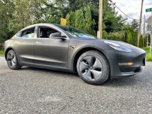 Matte grey Tesla wrap